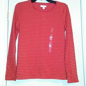 Nwt New Red LS Top Gold Sparkle Stripes 14